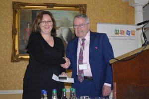 Prof O'Mullane presenting O'Mullane Prize to 2016 winner Dr. P. James